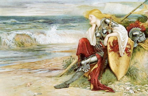 La caballero Britomart, personaje en The Faerie Queen (1590-96), representada por Walter Crane (1900).