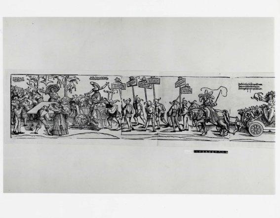 c. 1540: Grabado de Erhard Schön, The Triumph of Folly (British Museum), donde las mujeres reparten gorros de bufón a los hombres.