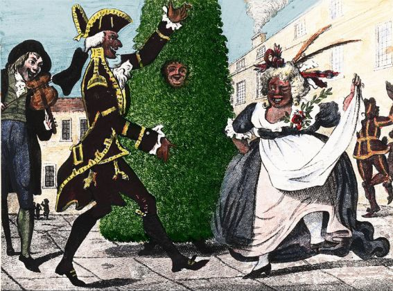 Jack-in-the-Green baila con Lord and Lady of May, Londres, siglo XVIII. (Wikipedia)