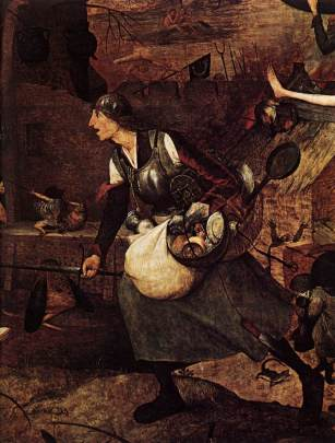 Detalle de Mad Meg, armada con espada y sartén, en la obra de Brueghel el Viejo Dulle Griet (1562). Wikipedia