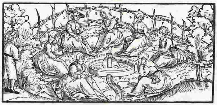 Grabado de Erhard Schön, Siete mujeres quejándose de sus maridos (c. 1531).