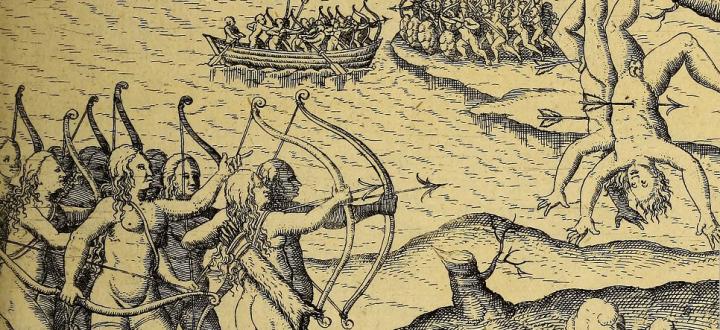 Batalla contra las Amazonas. Detalle en Guiana, 1599 (JCB). El texto se compuso atendiendo a informaciones traídas por Walter Raleigh.