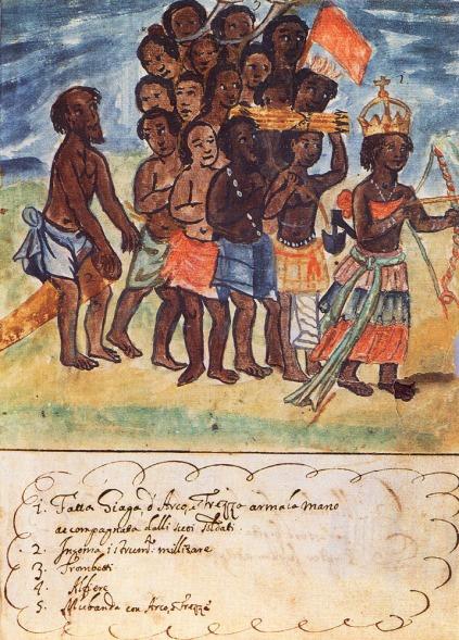 La Reina Njinga y su séquito, por António Cavazzi (1670s)