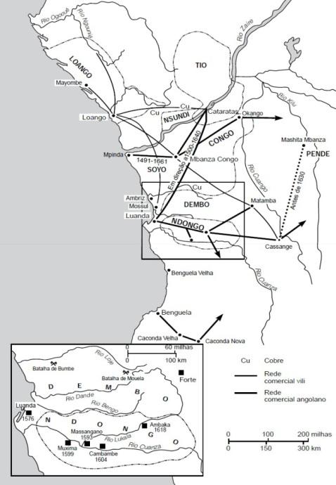 Mapa de Angola en tiempos de Njinga Mbande (ss. XVI-XVII)