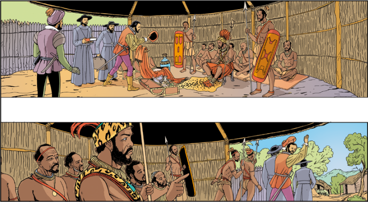 Dias de Novais en Kabasa, capital del reino de Ndongo.