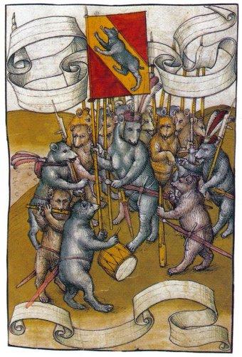 Los habitantes de Berna representados como un ejército de osos (Spiezer Chronik, 1485).