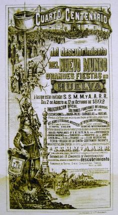 Cartel del Cuarto Centenario en Huelva (1892) Wikipedia