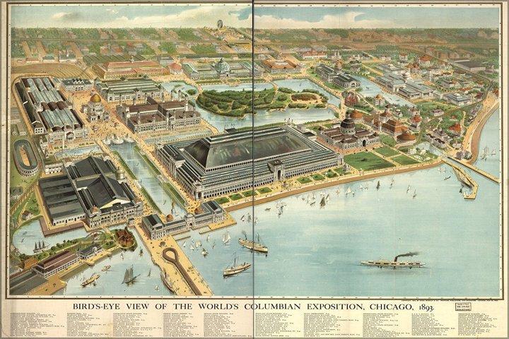 Mapa a vista de pájaro de la Exposición Universal de Chicago de 1893. Wikipedia