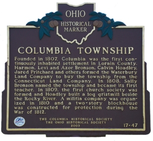 Placa conmemorativa actual en Columbia (Ohio) Columbia Township