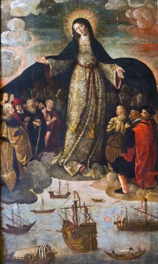 Retablo de la Virgen de los Navegantes (Reales Alcázares de Sevilla). La Corona acabó acaparando los logros de sus navegantes a sueldo, apropiándose desde muy pronto del 'relato oficial' del Descubrimiento.