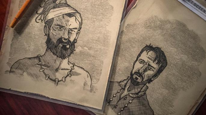 Retratos de Gonzalo Guerrero y Jerónimo de Aguilar realizados por Koldo Serra para el MdT.