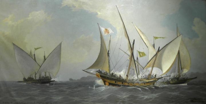 Antonio Barceló, con su jabeque correo, rechaza a dos galeotas argelinas (Museo Naval, 1738)