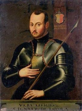 Vera effigies S. Ignaty de Loyola, verdadera imagen de S. Ignacio, con armadura militar. Anónimo del s. XVI, escuela francesa.