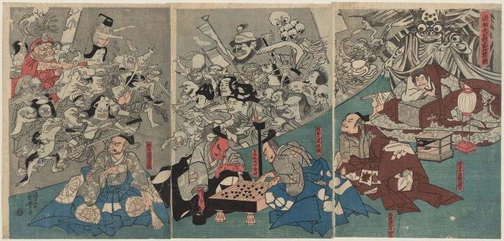 Tríptico impreso de Utagawa Kuniyoshi (1843): Tsuchigumo en los aposentos de Minamoto Yorimitsu