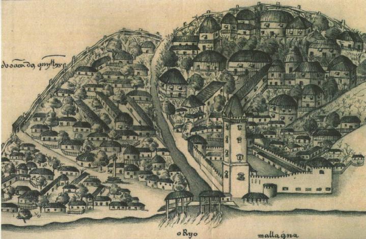 Dibujo de Malaca tras su conquista por los portugueses (1511)
