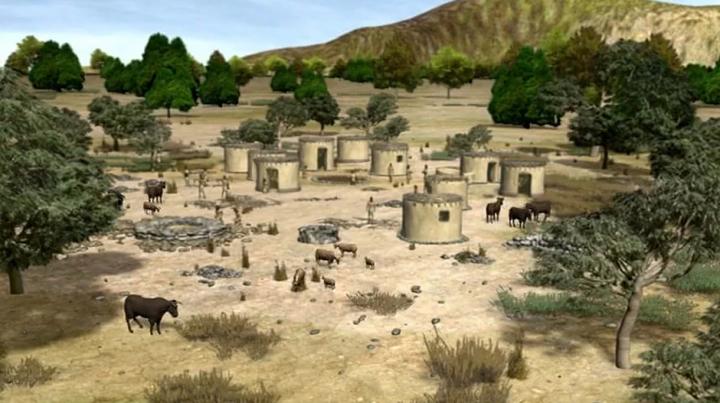 Recreación de la villa neolítica de Shillourokambos