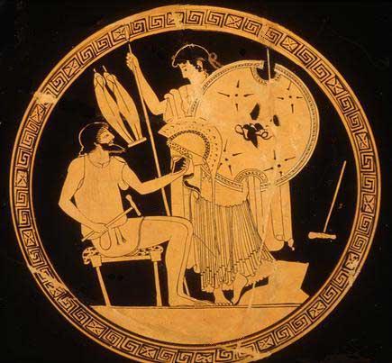 Hefesto entrega a Tetis el armamento para Aquiles (Antikensammlung Berlin)