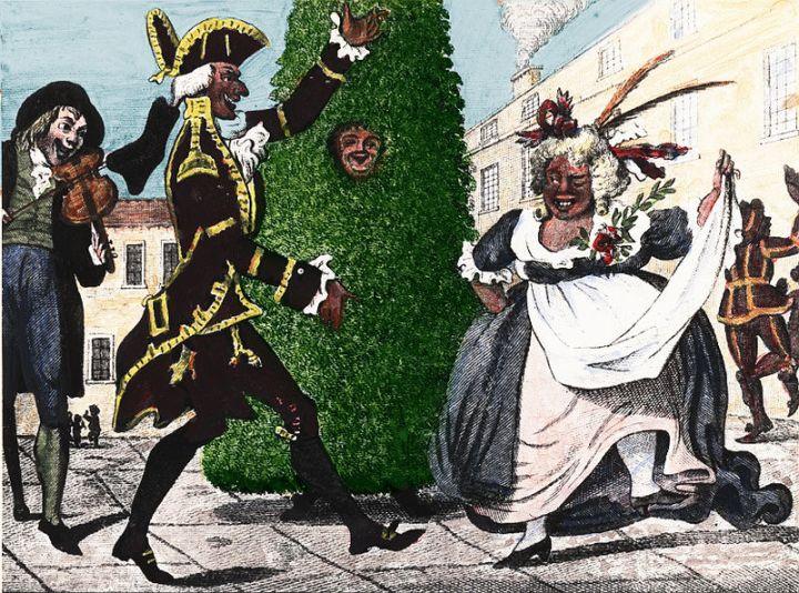 Los personajes de mayo en un grabado en un grabado de 1795