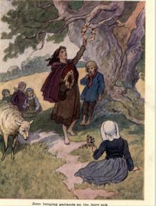 Juana colgando guirnaldas del Árbol de las Hadas Fuente: strangehistory.net